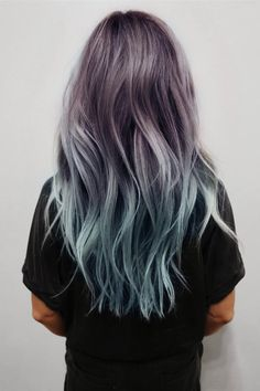Balayage and Ombre are everyone's favorite. Add in the pastel hair colors. and you have delicate and beautiful hair mixes. Coloured Hair, Ombre Hair Color, Purple Hair, Turquoise Hair, Teal Ombre, Pastel Purple, Purple Dye, Teal Orange, Blue Grey