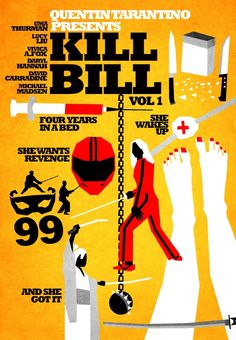 Filmes de Quentin Tarantino - posters de cinema minimalistas - Kill Bill vol 1