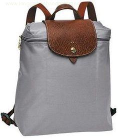 Longchamp Backpack Zippered Grey