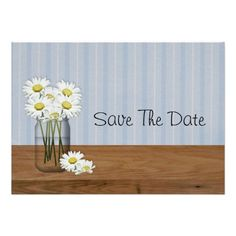 Mason Jar Of Daisies Save The Date Custom Announcement