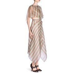 Fendi Organza Plaid Cape Dress (45.464.125 IDR) ❤ liked on Polyvore featuring dresses, boatneck dress, fendi dress, boat neckline dress, layered dress and tartan plaid dresses