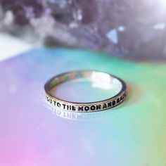 """I Love You To The Moon & Back Ring >> Stunning engraved ring with words reading """"I love you to the moon and back"""" Each ring features """"Dixi"""" engraving on the inside of the band. These rings make a perfect gift for a loved one. #shopdixi #love #ring #moon #engraved #gold"""