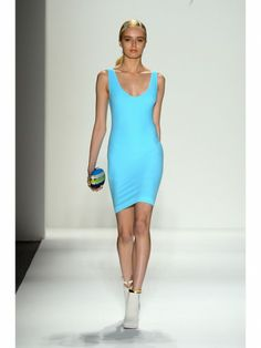 Whitney Eve turquoise fitted dress with striped clutch bag shown during Mercedes Benz Fashion Week Spring/Summer 2013 in New York City. #models #fashion #NYFW