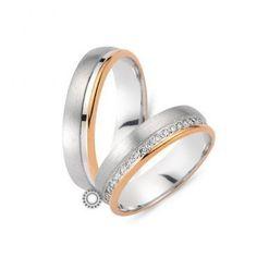 Γαμήλιες βέρες CHRILIA 28 σε ροζ και λευκή διχρωμία πάνω σε ματ και λευκή βάση και διαμαντάκια από τη μέσα πλευρά | Βέρες ΤΣΑΛΔΑΡΗΣ στο Χαλάνδρι #βερες #γάμου #wedding #rings #Chrilia