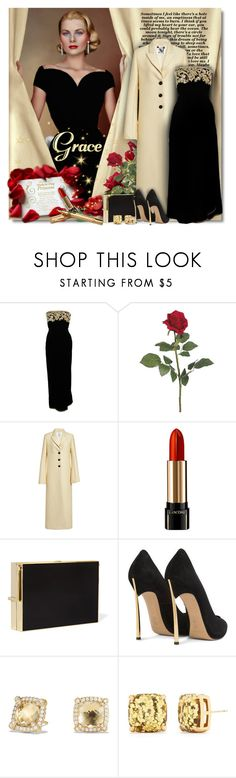 """Grace"" by petri5 ❤ liked on Polyvore featuring Oscar de la Renta, Rosie Assoulin, Lancôme, Lanvin, Casadei, David Yurman, Kate Spade and Cartier"