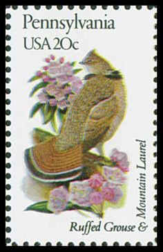 1982 Pennsylvania State Stamp - State Bird Ruffed Grouse - State Flower Mountain Laurel
