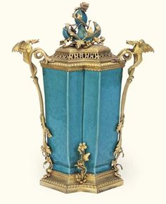 A French Ormolu-mounted Chinese turquoise glazed double-vase 18th century. Christies