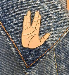 Spock Hand Pin, Vulcan Salute, Soft Enamel Pin, Art, Jewelry, Gift (PIN10)