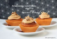 Irresistible pumpkin cupcakes with crunchy pecan inside and caramel cream cheese frosting on the top.  In Hungarian....