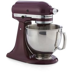 Crate & Barrel KitchenAid ® Artisan Boysenberry Stand Mixer featuring polyvore, home, kitchen & dining, small appliances, kitchenaid stand mixer, kitchen aid stand mixers, spiral mixer, stainless steel mixer and crate and barrel