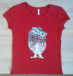 DIY: Hand painted t-shirt Owl With Glasses