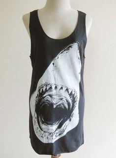 Shark Animal Style Shark Tank Top Teens Girl Women by sinclothing, $15.99