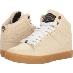 Osiris NYC83 VLC DCN (Tan/Tan/Copper) Men's Skate Shoes ($70) ❤ liked on Polyvore featuring men's fashion, men's shoes, men's sneakers, mens hi tops, mens hi top sneakers, mens high tops, mens shoes and mens skate shoes