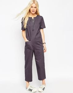 ASOS Relaxed Jumpsuit with Lace Up Detail
