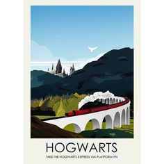 Harry Potter Hogwarts Travel Poster Vintage Railway posters Home Decor... ❤ liked on Polyvore featuring home, home decor, wall art, inspirational posters, vintage posters, motivational posters, paper wall art and vintage home decor