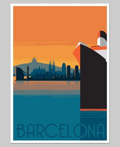 Barcelona Retro Poster  A2 by RetroLaden on Etsy