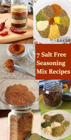 Lots of folks are trying to cut back on sodium in their diet. It can be difficul… Lots of folks are trying to cut back on sodium in their diet. It can be difficult to give up salt but here you will find 7 salt free seasoning mix recipes that can help. No Sodium Foods, Low Sodium Diet, Low Sodium Recipes, Low Sodium Snacks, Homemade Dry Mixes, Homemade Spices, Homemade Seasonings, Heart Healthy Recipes, Gourmet Recipes