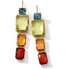 Ippolita 18k Gold Rock Candy Gelato Multi-Stone Drop Earrings (3,755 CAD) ❤ liked on Polyvore featuring jewelry, earrings, accessories, long post earrings, clear earrings, orange earrings, green drop earrings and green earrings