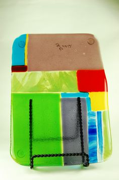 """6x9""""+ Art Deco Fused Glass cheese board....+ because it is a little bit oversized.  You will love the vibrant colors!"""