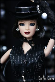 ACCESSORY BARBIE DOLL JAZZ BABY CABARET DANCER BLACK FAUX DIAMOND SASSY TOP HAT