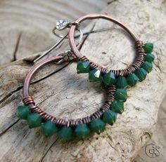 Emerald Green Earrings Beaded Copper Hoop May by ArtandSoulJewelry, $25.00