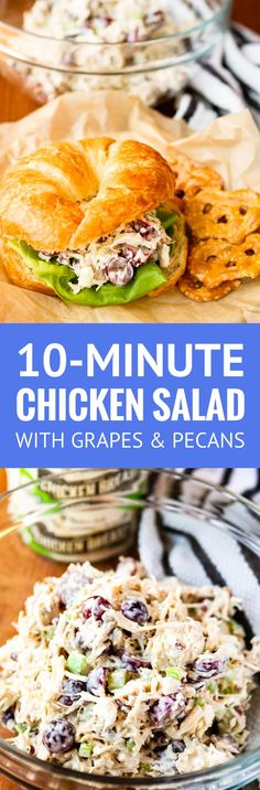 Easy Chicken Salad -- this easy chicken salad recipe, filled with fresh grapes and roasted pecans, makes a quick, delicious, and satisfying meal! I like it heavy on the grapes for a satisfying burst of sweet and juicy flavor in every bite... | chicken salad with grapes | healthy chicken salad | chicken salad sandwich | classic chicken salad | chicken salad with Greek yogurt | find the recipe on unsophisticook.com #chickensalad #chickenrecipes #grapes #easyrecipes #unsophisticook