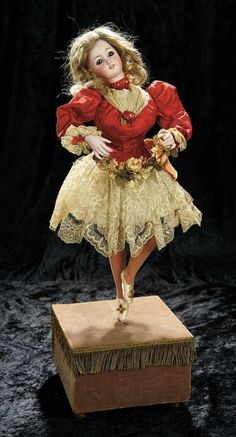 """Soirée: A Marquis Cataloged Auction of Antique Dolls and Automata - May 14, 2016: Lot 114. French Musical Automaton """"The Ballerina"""" by Leopold Lambert"""