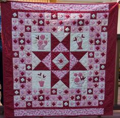 Hand Appliqued and hand quilted Valentine Quilt