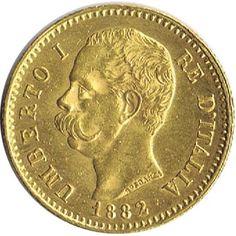 Moneda de oro 20 liras Italia 1882.