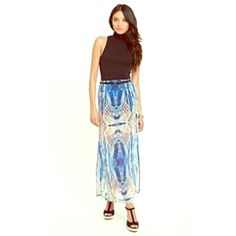 Kendall & Kylie | Tribal Print Maxi Skirt | Size:M Great condition | tribal print maxi skirt with mini skirt inset | slits on both sides of skirt | stretchy waist (so slightly larger than medium) | no wear or damage Kendall & Kylie Skirts Maxi