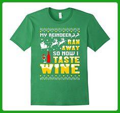 Mens My Reindeer Ran Away So Now I Taste Wine Tshirt 2XL Grass - Food and drink shirts (*Amazon Partner-Link)