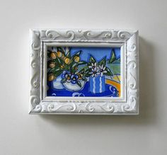 Original still life acrylic painting on canvas 3 by BrookeHowie Hanging Plates, Miniature Paintings, Yellow Tulips, Plate Holder, Acrylic Painting Canvas, Pansies, Special Gifts, A Table, Still Life