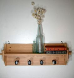 Rustic Coat Rack Wall Shelf by Latitude59 on Etsy.  Woodworking with iron railroad spikes, cedar and vintage decor.