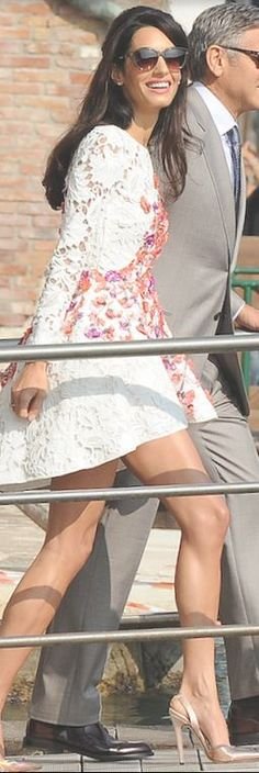 Who made Amal Alamuddin's white floral lace dress that she wore in Venice