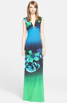 Free shipping and returns on Roberto Cavalli Print Jersey Gown (Nordstrom Exclusive) at Nordstrom.com. Ombré hues and a photorealistic floral print lend lavish color to a sleeveless jersey gown designed with a figure-skimming silhouette. Gilded goldtone hardware at the gathered, plunging V-neckline provides an alluring finish.