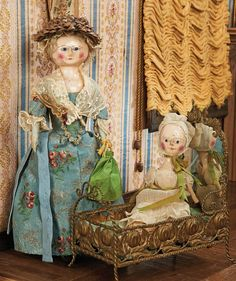 """Theriault's - 13"""" early english wooden doll with rare blue-glove kidskin arms, 10"""" early english wooden baby"""