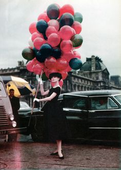 Audrey Hepburn in Paris on set for the film Funny Face, 1956.