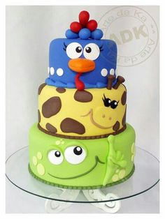 Cute animals tiered cake