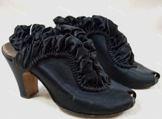Vintage black satin leather ruffled high heel Boudoir slipper shoes by Daniel Green circa 1940s for $60 from Recursive Chic @ recursivechic.com