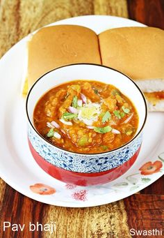 Pav bhaji recipe - Learn to make easy mumbai style best delicious, flavorful and tasty pav bhaji recipe at home with the step by step photos. Tasty Vegetarian Recipes, Curry Recipes, Gourmet Recipes, Cooking Recipes, Tasty Recipe, Recipe Recipe, Potato Recipes, Vegetable Recipes, Indian Bread Recipes
