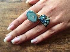 Blue Geode Druzy Ring Blue Druzy Ring Cocktail Ring by FootSoles