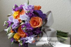 purple and orange bouquet with wedding flowers such as sweet pea and ranunculus, Dallas wedding flowers by AntebellumDesign.com