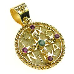 Damaskos Ruby and Emerald Mother & Child Cross Pendant. 18k Gold and Rubies. See more Greek jewelry at www.athenas-treasures.com