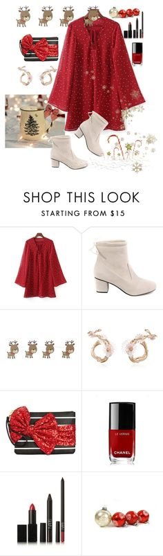 """""""Lace Up Stars Red Print Dress"""" by buggybug076 ❤ liked on Polyvore featuring Betsey Johnson, Chanel and NARS Cosmetics"""