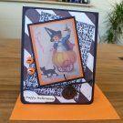 Handmade Halloween card - Child in a pumpkin - Vintage inspired