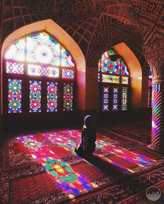 """""""The Nasir al-Mulk Mosque remains one of my favorite things to visit in Iran. Not just for photography, but mostly because of its serenity,… Pink Mosque, Iranian Beauty, Masjid Al Haram, Iran Travel, Mekka, Islam Religion, World Religions, Dark Photography, Portrait Photography"""