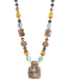 Another great find on #zulily! Turquoise & Tiger's Eye Beaded Pendant Necklace by Barse #zulilyfinds