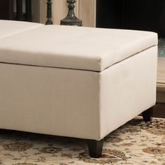 18 inches high x 48 inches wide x 30 inches deep $231 Knight Home Alfred Fabric Medium Storage Ottoman Bench