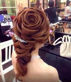 Funny pictures about Rose Hair. Oh, and cool pics about Rose Hair. Also, Rose Hair photos. Top Hairstyles, My Hairstyle, Pretty Hairstyles, Wedding Hairstyles, Flower Hairstyles, Hair Updo, Amazing Hairstyles, Princess Hairstyles, Unique Hairstyles
