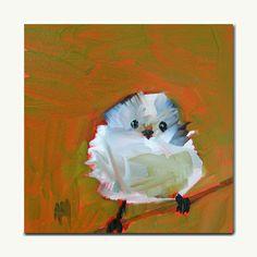 fluffy baby bird original painting by moulton by prattcreekart